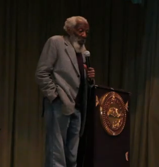 Dick Gregory delivers lecture on March 8 at Sojourner Douglass College