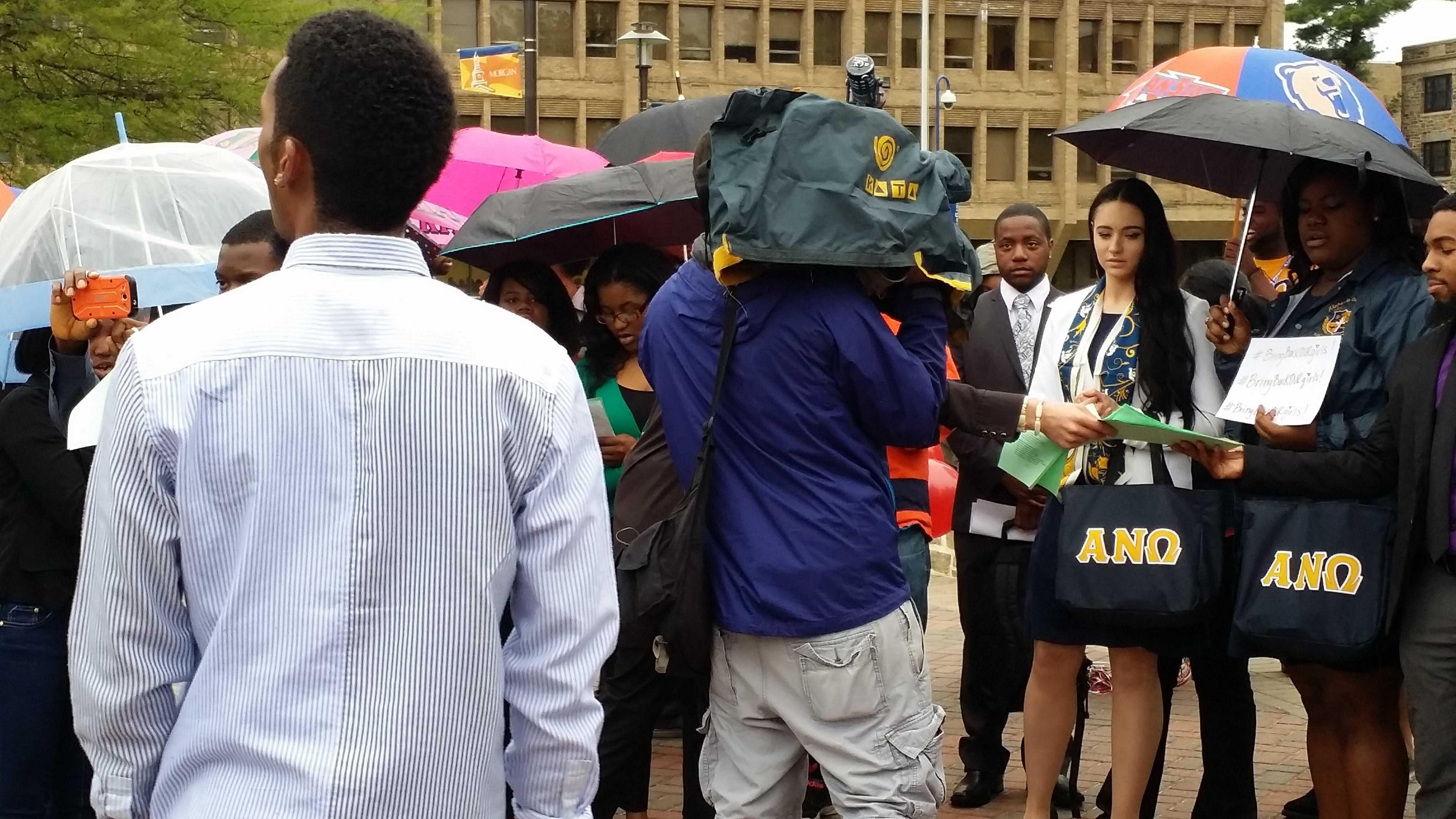 Morgan students protest Nigerian kidnappings.