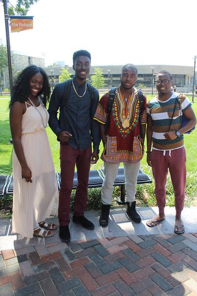(From left to right) Fumni Lagoke, senior, Music major; Issac Asante, junior, Psychology major; Qobe Wisdom, senior, Accounting major; Lanre Rawaye, senior, Electrical Engineering major