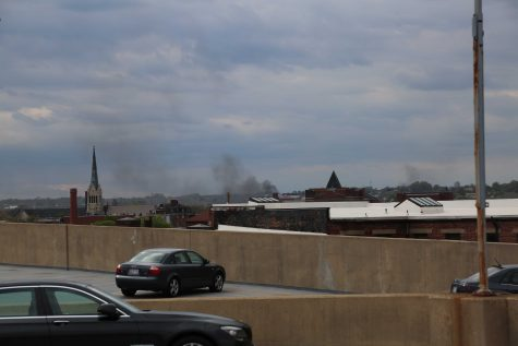 Smoke rising in the distance from Pennsylvania and North Avenue.