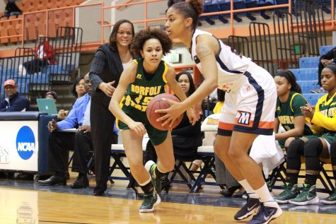 Junior Danielle Robinson prepares to shoot against Norfolk State. Photo by Terry Wright.