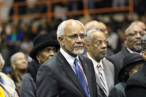 Members of the Morgan State College Civil Rights Pioneers listen as President David Wilson awards them Honorary Doctorate degrees in Law. Photo by Benjamin McKnight III