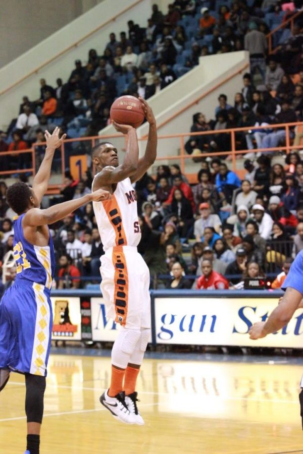 Junior Andre Horne puts up a shot against Coppin State on Monday night. Photo by Terry Wright.