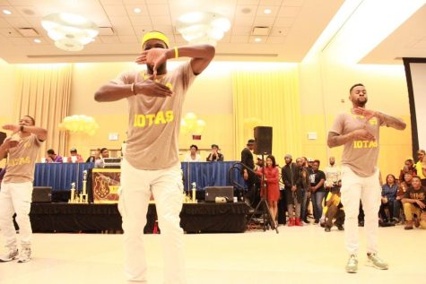 Members of Iota Phi Theta performing at the Project X Stroll Competition.  Photo by Terry Wright.