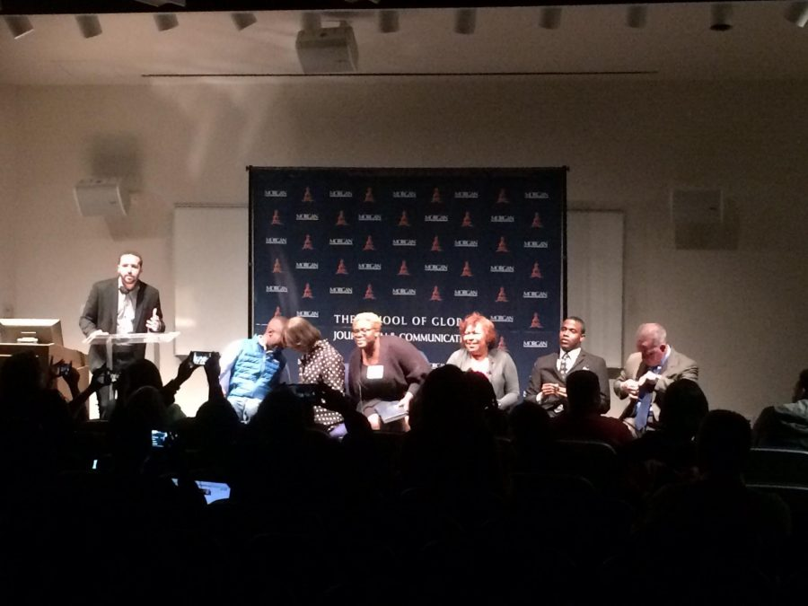 Panelists for the Town Hall: Together Baltimore getting seated. Photo credit: Tramon Lucas