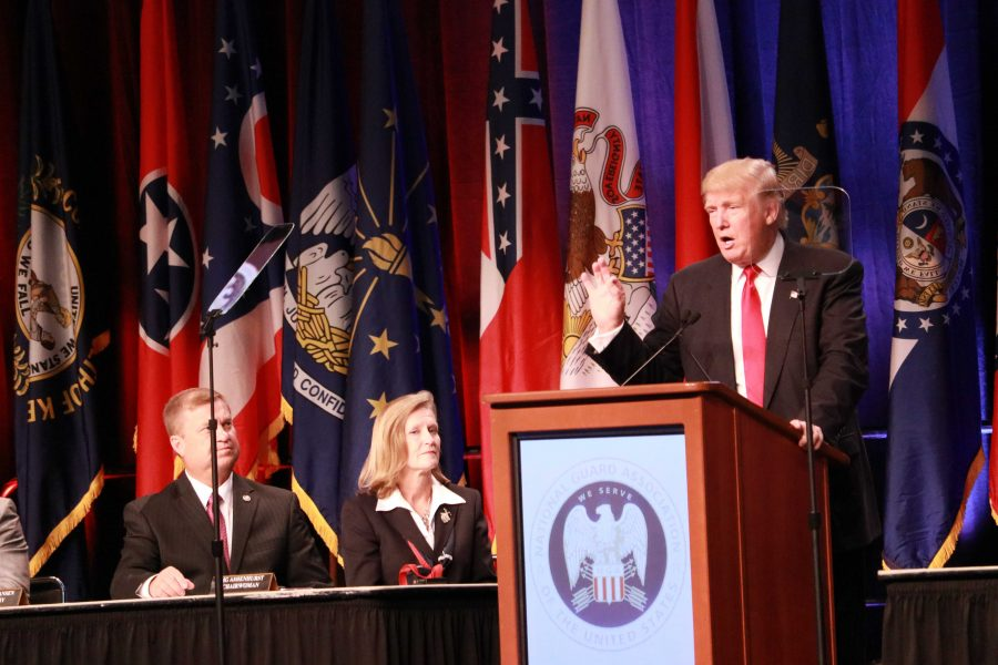 Donald Trump speaking at the National Guard Associations 138th General Conference and Exhibition. Photo by Terry Wright.