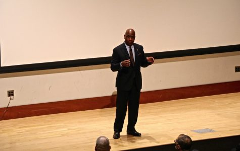 President David Wilson addresses Morgan State's  Town Hall audience.