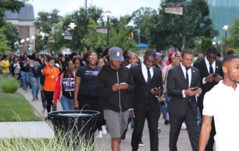 Morgan students walk in unison