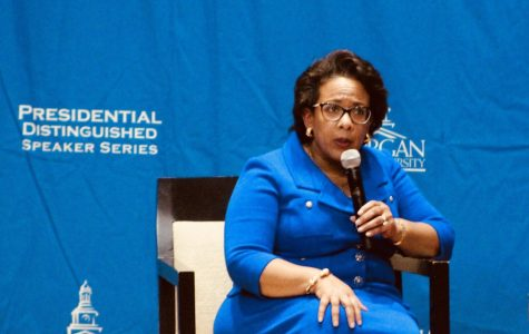 Loretta Lynch addresses the Morgan community for the Annual Presidential Speaker Series