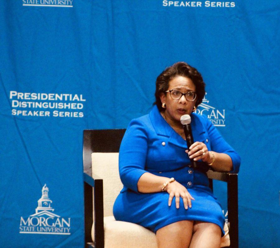 Loretta Lynch addresses the Morgan community for the Annual Presidential Speaker Series