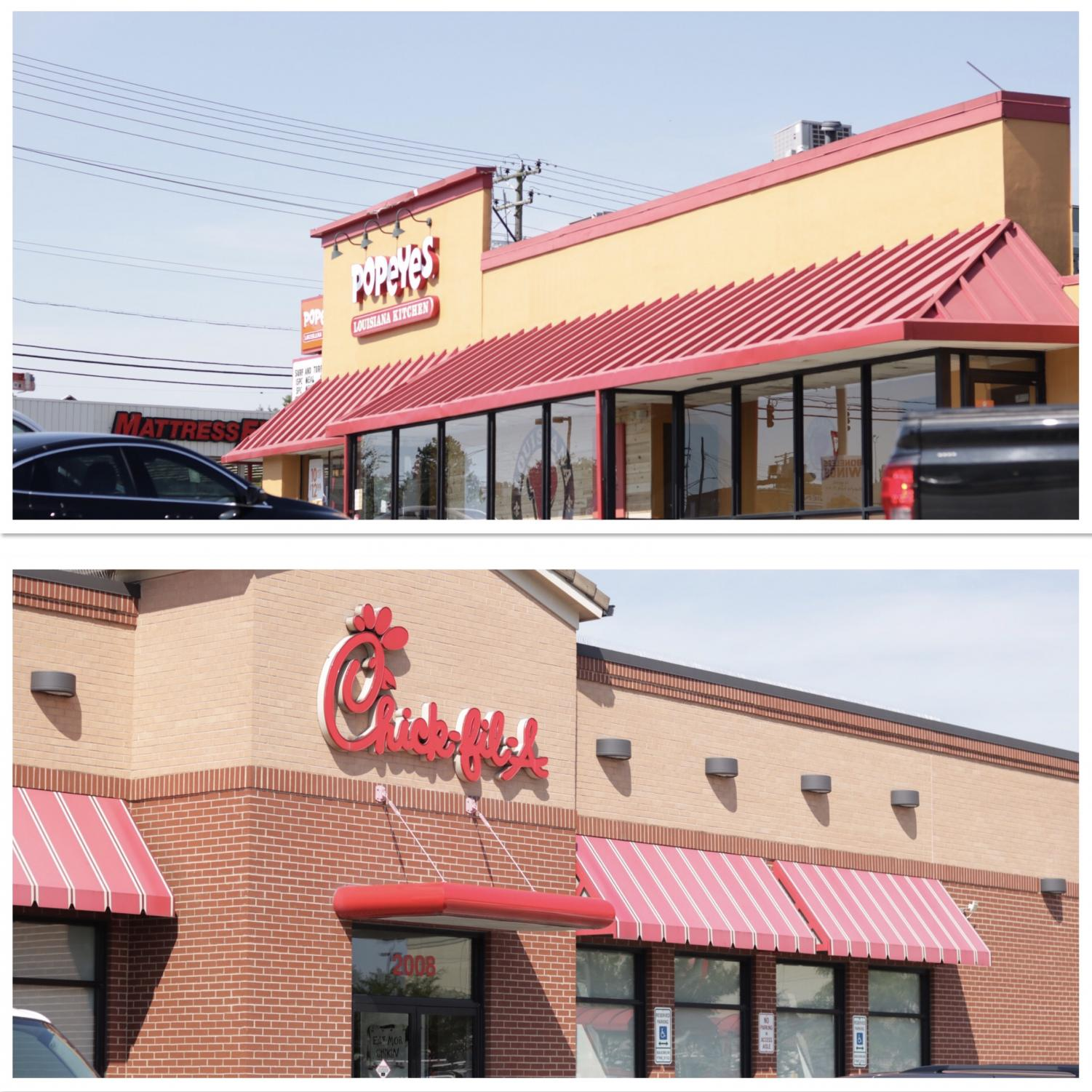 Popeyes and Chick-Fil-A located on York Rd. are walking distance from one another.