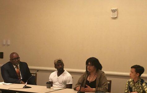 Panelists NPR TV critic Eric Deggans; Bruce Franks, Jr; director Smriti Mundhra and producer Poh Si Teng  at a screening of
