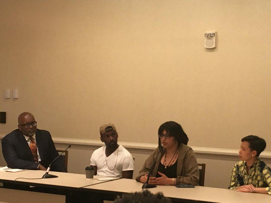 Panelists NPR TV critic Eric Deggans; Bruce Franks, Jr; director Smriti Mundhra and producer Poh Si Teng  at a screening of St. Louis Superman