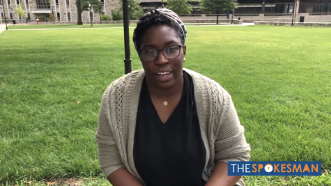 Sociology major Malaika Geffrard expresses what 9/11 means to her on the academic quad.