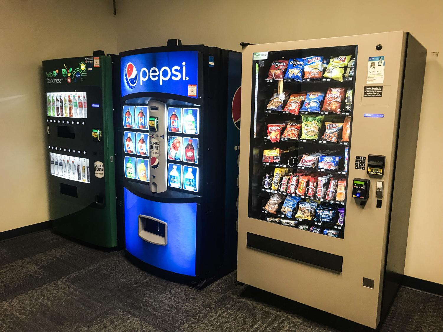 Vending machines stand on the second floor of the Graves School of Business.