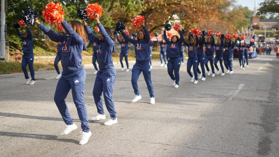 Morgan's cheerleaders perform during Morgan's 2018 Homecoming Parade.