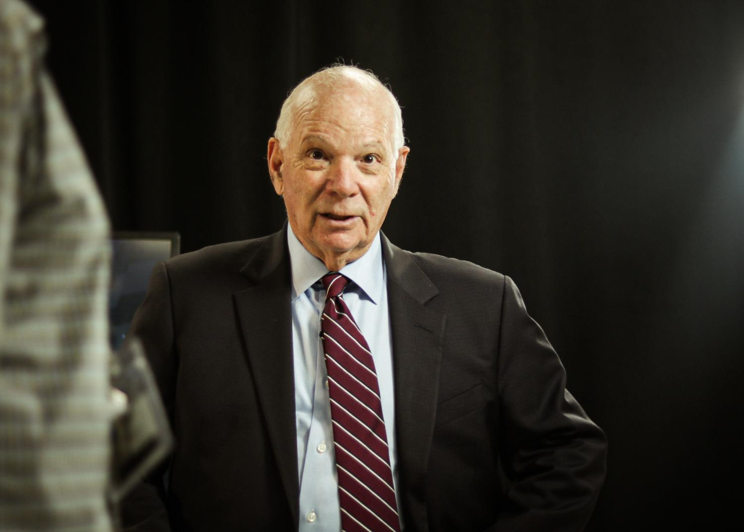 Sen. Ben Cardin (D-Md.) prepares to respond to a student's question.
