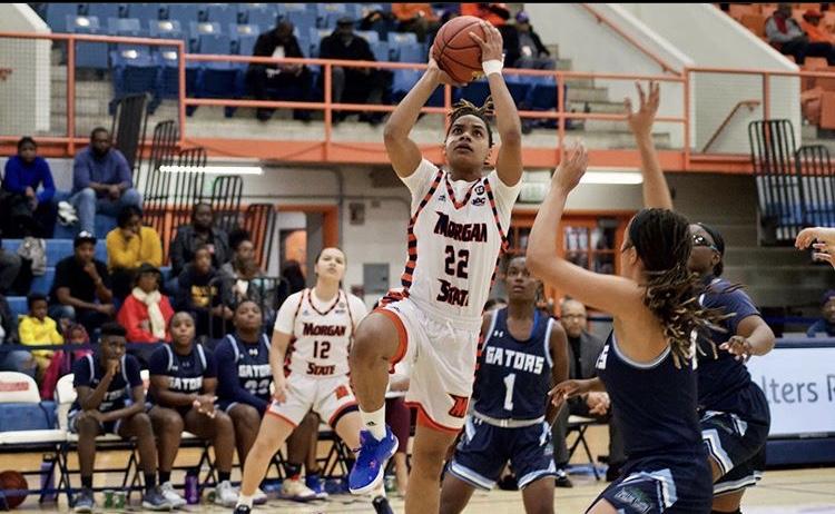 Forward Dahnye Redd goes for the shot.