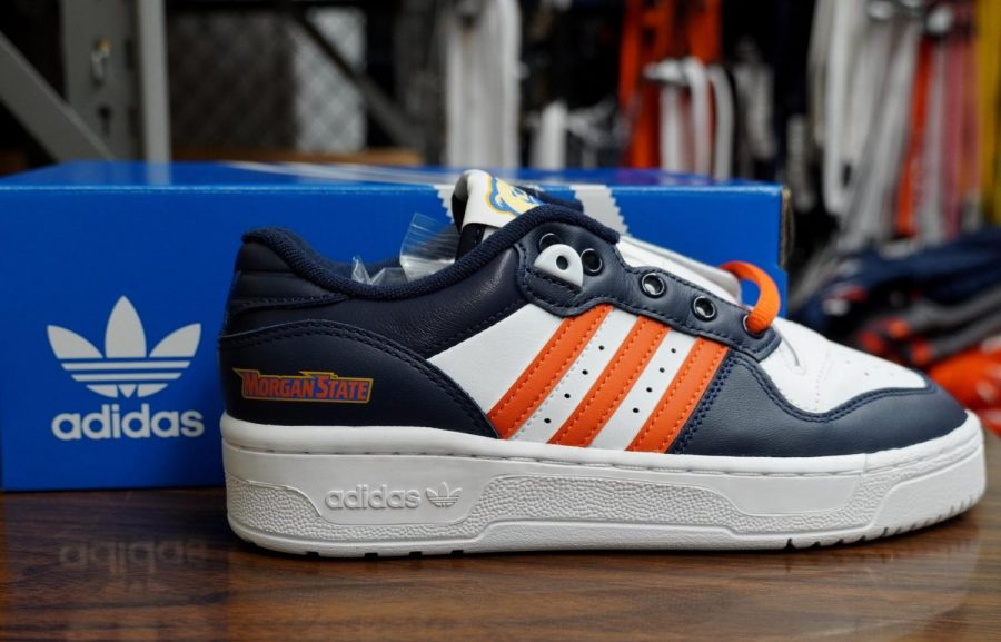 Adidas Rivalry Lo style shoe, customized with Morgan State's colors and logo.