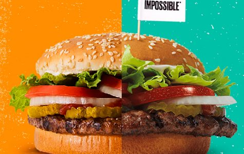 Burger King's original Whopper burger (left) compared to the Impossible Whopper (right).