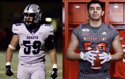 Danny Chaudhry (left) gears up to play along with South Dakota High School and (on the right) he poses in Morgan gear within the university locker room.