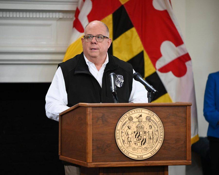 Gov.+Larry+Hogan+during+wednesday%27s+COVID-19+press+conference.+