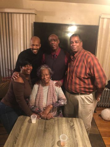 Evelyn Miller with her Children, Caroline McMillan(Far left), Kirk Dennis(Left), Norman Dennis(Right), and Tony Dennis(Far Right).