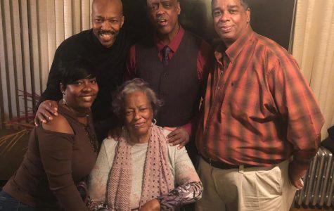 Evelyn Miller with her Children, Caroline McMillan(Far left), Kirk Dennis(Left), Norman Dennis(Right), and Tony Dennis(Far Right).