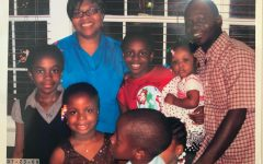 Hope Egie (left) smiles in a family photo with her mother Isimeme Akoko (upper left).