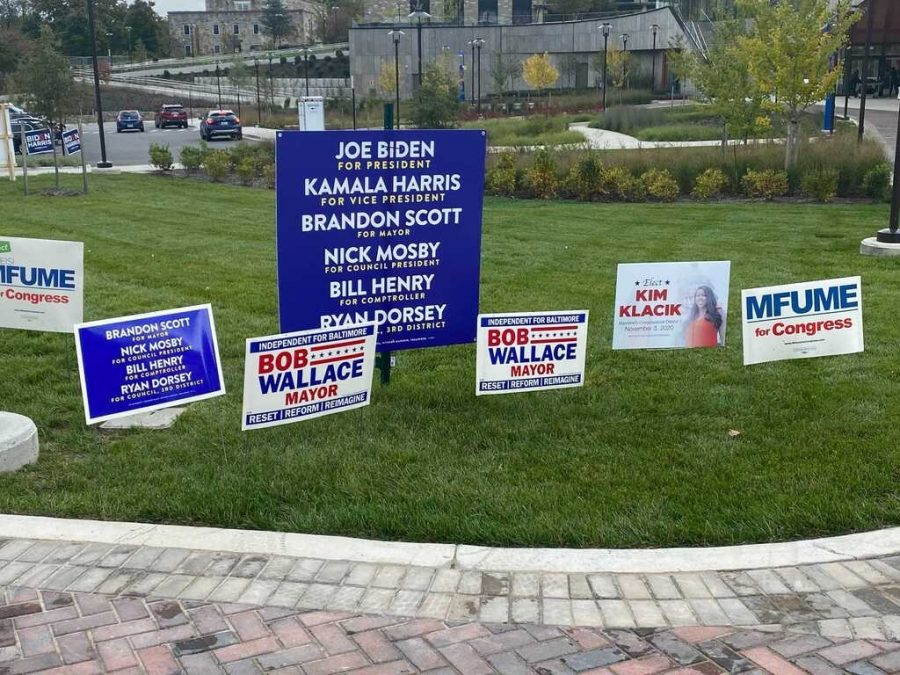 Political signs flood Morgan State's lawn.