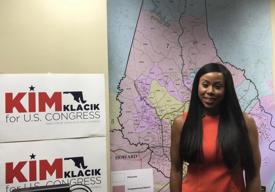 Republican candidate Kimberly Klacik stands in her Baltimore office