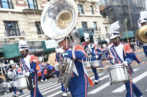 Malcolm Mobley plays his heart out in the 93rd annual Macy's Thanksgiving Day Parade.
