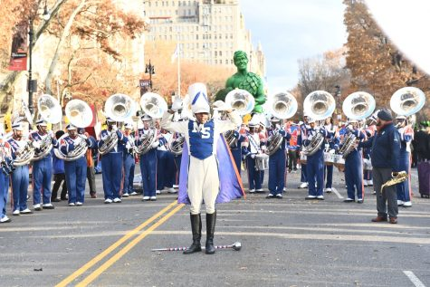 The Magnificent Marching Machine prepares to perform in the 93rd annual Macy's Thanksgiving Parade