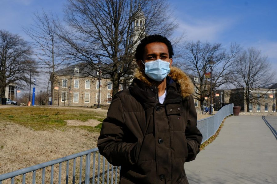 Surafel Hailu, a sophomore nursing major, received his first dosage of the Pfizer vaccine in late January.