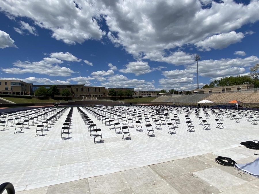 Hughes Memorial Stadium is prepped for the graduation ceremonies a day before the events.