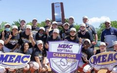 The Lady Bears celebrate their first MEAC softball title.