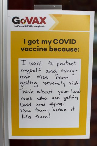 The universitys vaccine clinic features a wall of I got my COVID vaccine because cards with the reasons why members of the community decided to get vaccinated.