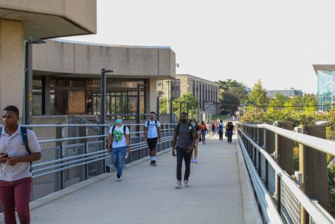 Students traveled across the Verda Welcome bridge onto the academic quad for classes on Monday.