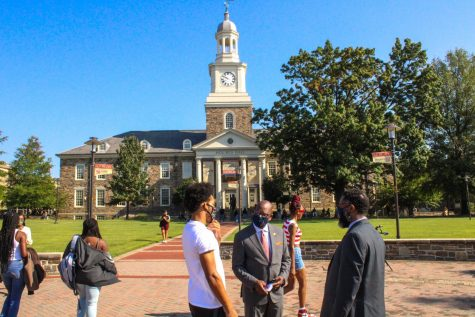 President David Wilson welcomes students to campus Monday morning.