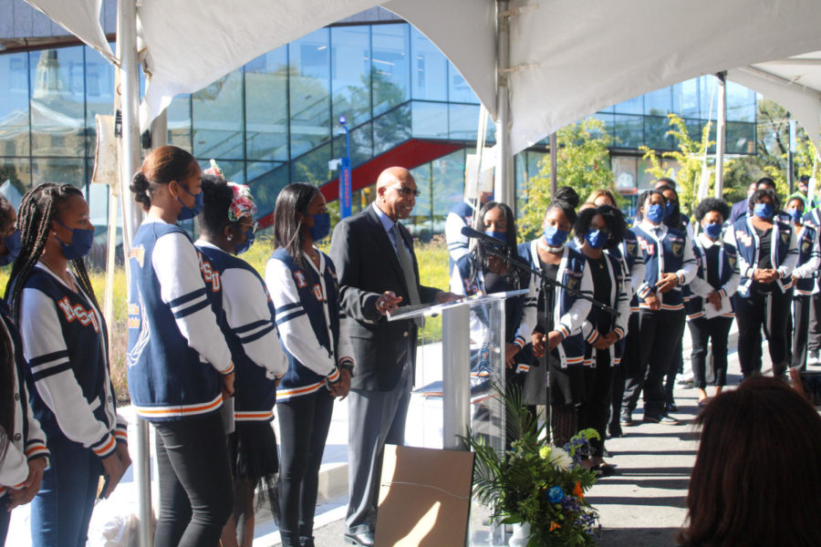 Calvin Tyler delivered a speech among his program scholars. He expressed his gratitude to family, friends and the university for making the creation of Tyler Hall possible.