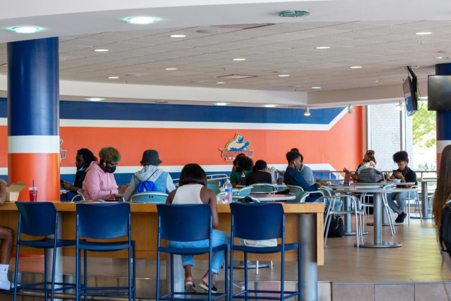 Students in University Student Center dining.