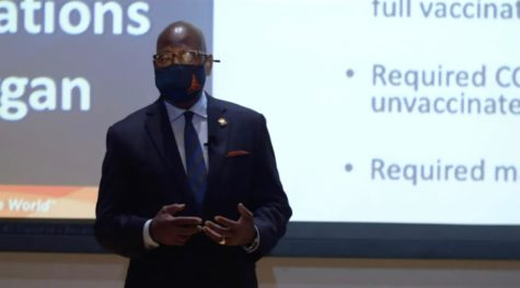 The fall 2021 town hall was held in person at the University Student Center Theatre and also livestreamed on Morgan State Universitys YouTube channel.